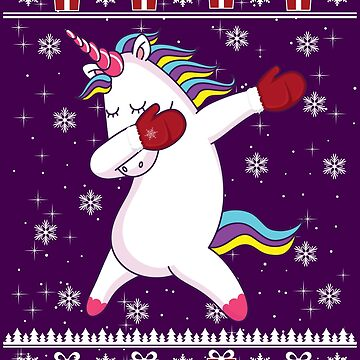 Funny Ugly Christmas Sweater Dabbing Unicorn With Winter Gloves Gift by maindeals