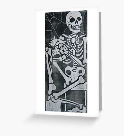 skeleton wood cut Greeting Card