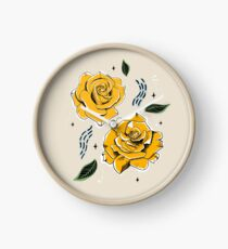 Gold Roses Clock