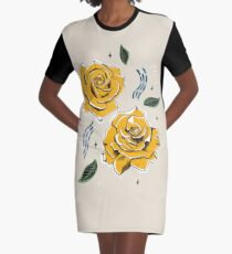 Gold Roses Graphic T-Shirt Dress
