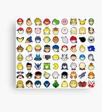 Super Smash Bros Ultimate Character Stock Icons (Arrangement 1 of 4) Canvas Print