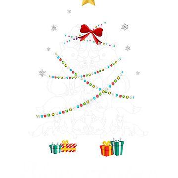 Christmas Light Fox Tree T Shirt Gifts For Women Men Kids by kelvil