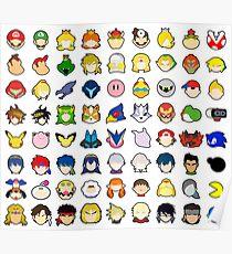 Super Smash Bros Ultimate Character Stock Icons - Franchise Order (Arrangement 3 of 4) Poster