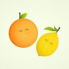 Happy Orange and Lemon by cartoonbeing