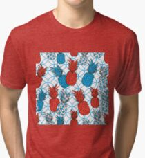 Pineapple Gallery-Fruit Delight. Seamless Repeat Pattern illustration.Background in Blue,Red and white Tri-blend T-Shirt