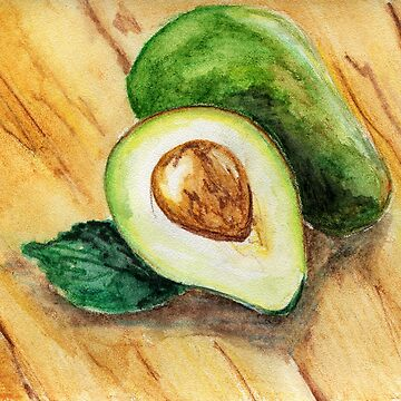 Watercolor illustration. Half of fresh raw avocado and whole avocado lying on a wooden surface. by rusmashart