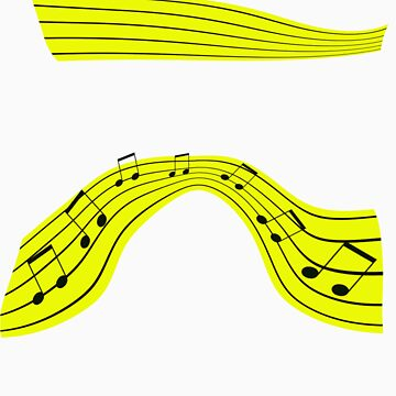 yellow ribbon of musical notes by pearlguy