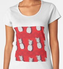 Pineapple Groove-Fruit Delight. Seamless Repeat Pattern illustration.Background in Red White and Grey. Women's Premium T-Shirt