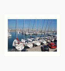 Port Olimpic marina in Barcelona Art Print