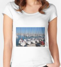 Port Olimpic marina in Barcelona Women's Fitted Scoop T-Shirt