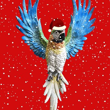Christmas Parrot Festive Bird Lover Blue Macaw by bev100