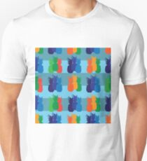 Pineapple Party-Fruit Delight. Seamless Repeat Pattern illustration.Background in Blue,Orange,Green,Red Unisex T-Shirt