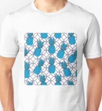 Pineapple Pool-Fruit Delight. Seamless Repeat Pattern illustration.Background in Blue and white Unisex T-Shirt