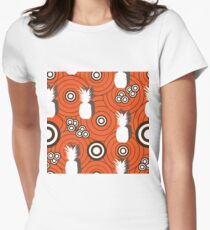 Pineapple Retro-Fruit Delight. Seamless Repeat Pattern Background in Orange White and Brown . Women's Fitted T-Shirt
