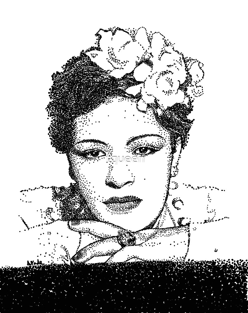 Jazz Singer Billy Holiday pointillism by tqueen