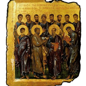 Twelve Disciples, Synaxis, Christianity, Twelve Apostles, Russian, 14th century, Moscow Museum. on White by TOMSREDBUBBLE