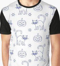 Halloween 2019 seamless pattern. Pumpkins, cats. Graphic T-Shirt