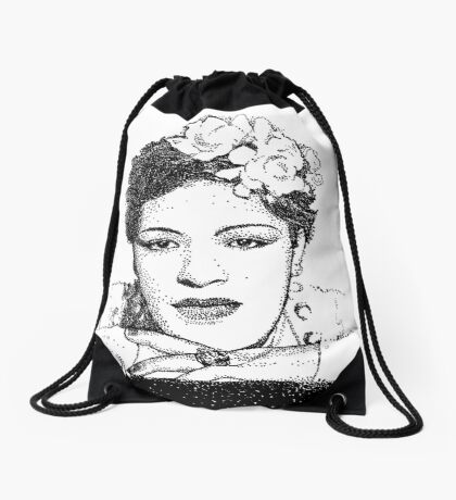 Jazz Singer Billy Holiday pointillism Drawstring Bag