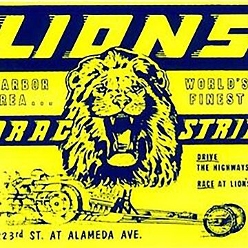 Lions Dragstrip Vintage style racing sticker by thatstickerguy