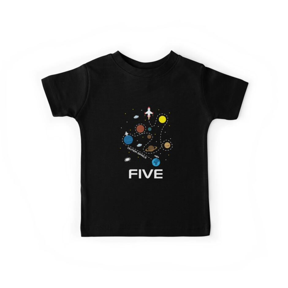 5 Years Old Outer Space Travelling With Spaceship T Shirt By Aastudio