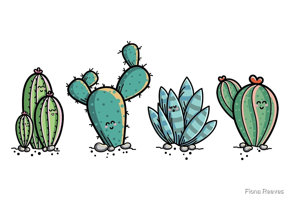 Kawaii Cute Cacti Desert Plants by Fiona Reeves