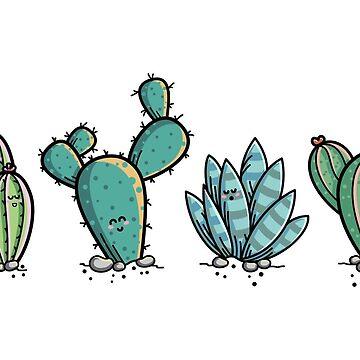 Kawaii Cute Cacti Desert Plants by freeves