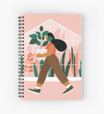 Beautiful girl with plant in pot Spiral Notebook
