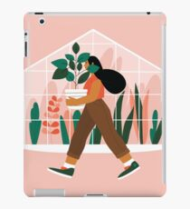 Beautiful girl with plant in pot iPad Case/Skin