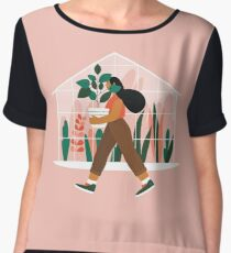 Beautiful girl with plant in pot Chiffon Top