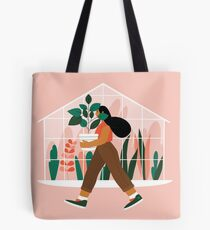 Beautiful girl with plant in pot Tote Bag