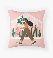 Beautiful girl with plant in pot Throw Pillow