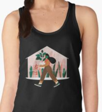 Beautiful girl with plant in pot Women's Tank Top
