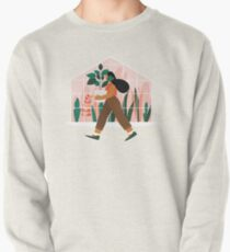 Beautiful girl with plant in pot Pullover