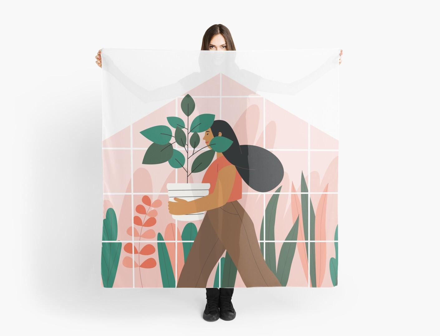 « Belle fille avec plante en pot » par hallotoia