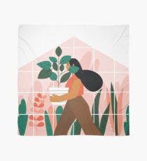 Beautiful girl with plant in pot Scarf