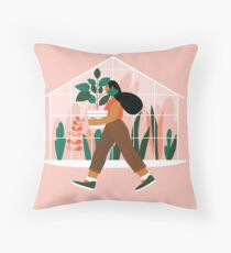Beautiful girl with plant in pot Floor Pillow