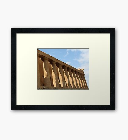 Enlightening moments in the shadow of a temple Framed Print