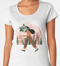 Beautiful girl with plant in pot Women's Premium T-Shirt