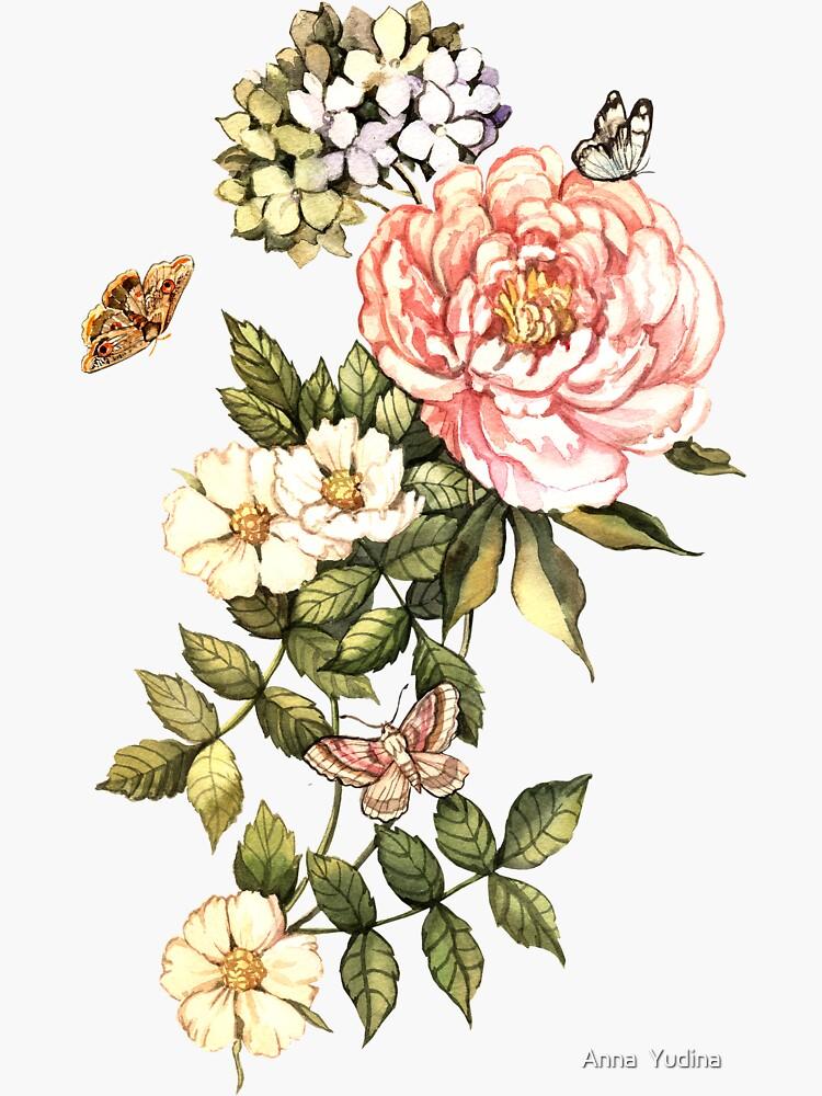 Watercolor vintage floral motifs by Anutina