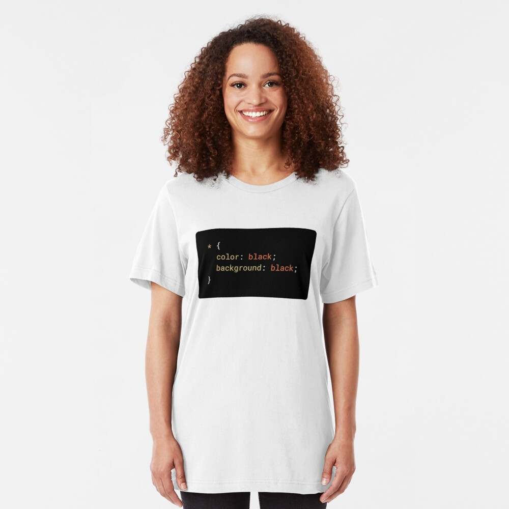 CSS - Everything Black (with background) Slim Fit T-Shirt