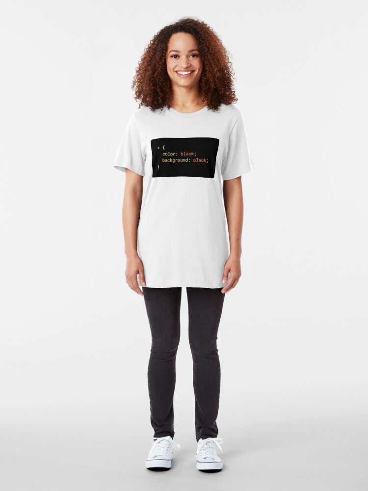 Alternate view of CSS - Everything Black (with background) Slim Fit T-Shirt