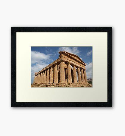 Sicilian blue sky temple dreaming Framed Print