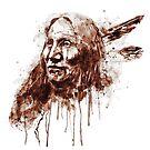 Native American Portrait Sepia Tones by Marian  Voicu