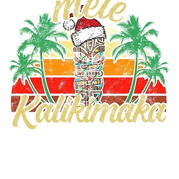 Christmas Mele Kalikimaka Tiki Santa Hat Hawaii by majuga