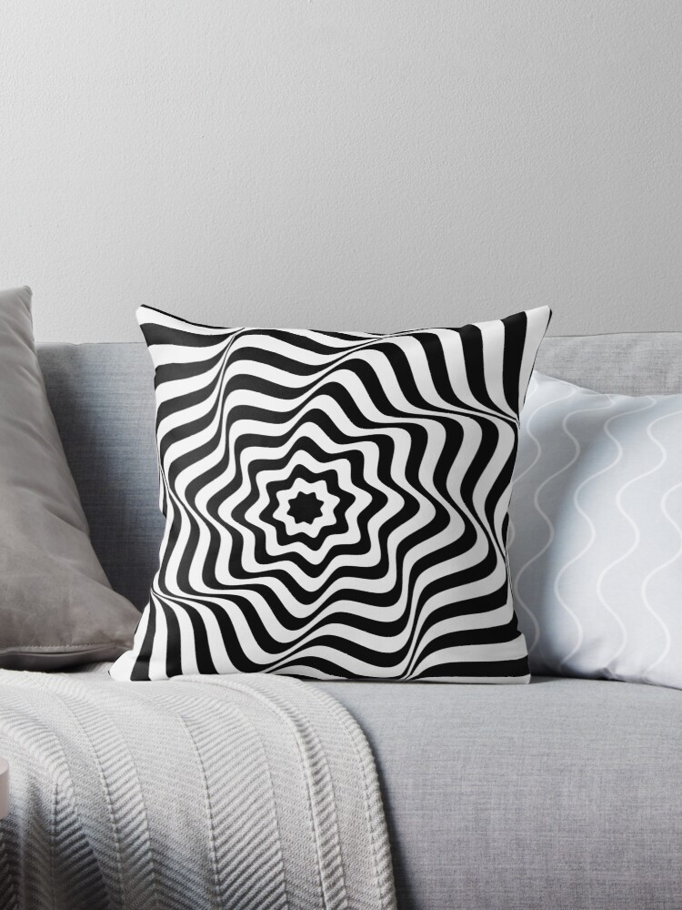 'Optical Curves (in abstract black & white lines)' Throw Pillow by  QueenieLamb