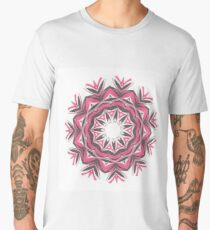 Charcoal and Red Feather Circle Fall Into Winter Design by GreenBeeMee Men's Premium T-Shirt
