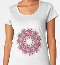 Charcoal and Red Feather Circle Fall Into Winter Design by GreenBeeMee Women's Premium T-Shirt