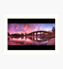 Mt Crosby Weir Sunset Panorama Art Print