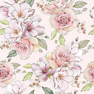 Beautiful pastel pink roses pattern by artonwear