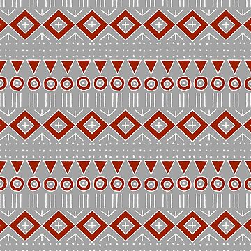 Mudcloth Style 2 with Red and White on Light Gray by MelFischer